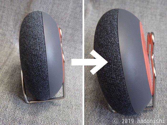 スポンジホルダーにGoogle Home Miniの本体をはめる