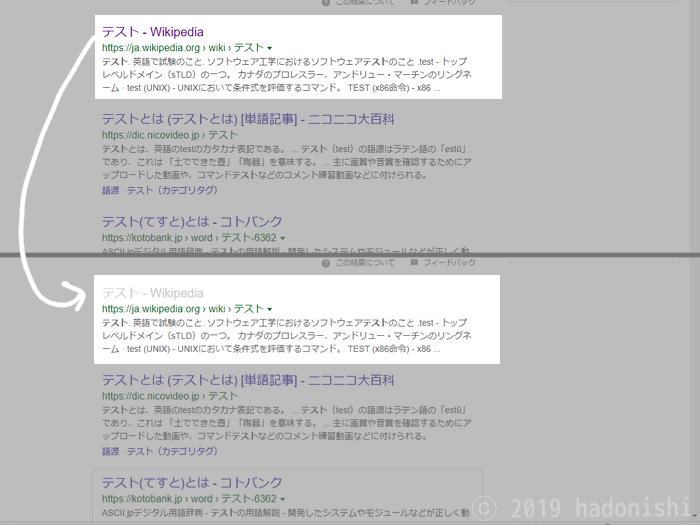 訪問済みリンクの色をわかりやすくした検索結果