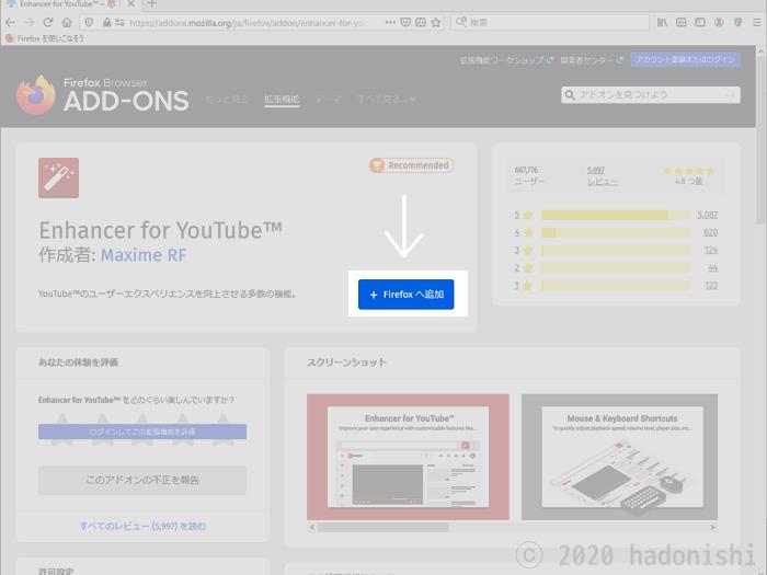 『+Firefoxに追加』ボタン