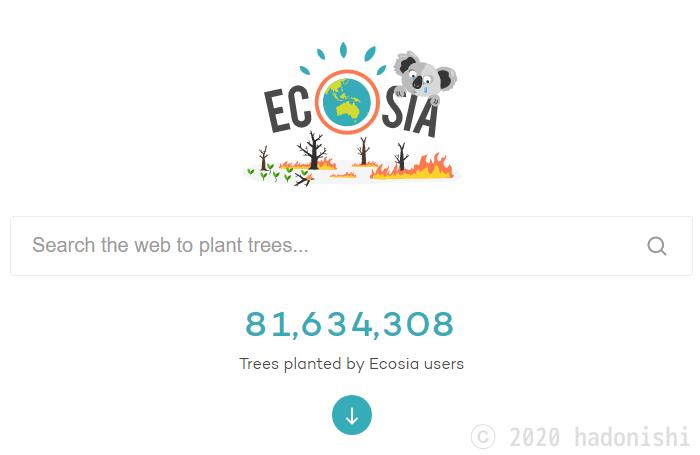 トップページ下のEcosia全体での植樹数