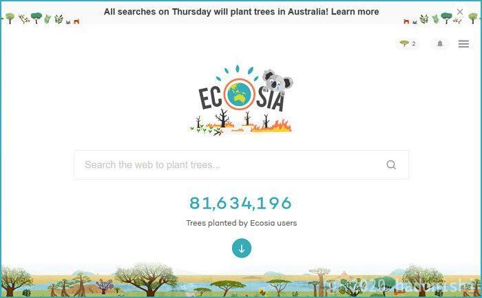 エコな検索エンジン Ecosia をスマホアプリやブラウザのアドレスバーなどの色々な場所から使う方法のサムネイル