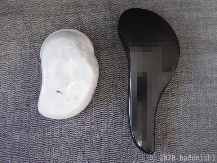 タングルティーザーとダイソー立体ブラシのサイズ比較