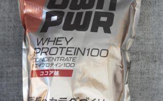 OWN PWR ホエイプロテイン 100 ココア味 パッケージ表